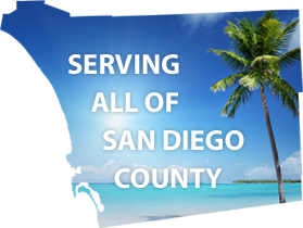 image of San Diego County outline filled with sunny sky, clear water and palm tree to show Pacific Backflow is Serving all of San Diego County